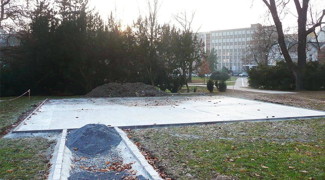 Zalití dopadové plochy betonem
